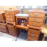 DUCAL PINE BEDROOM FURNITURE TO INCLUDE; KNEEHOLE DRESSING TABLE, PAIR OF BEDSIDE CHEST OF DRAWERS