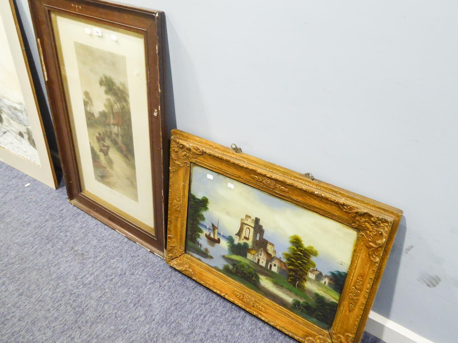 Lot 396 - VICTORIAN MEZZOTINT, 'MILKING TIME' in oak frame, and a NAÏVE PAINTING ON GLASS, river landscape, (