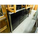 LARGE BLACK HIGH GLOSS SIDEBOARD WTIH CHROME BORDER, HAVING TWO CUPBOARD DOORS AND THREE CENTRAL