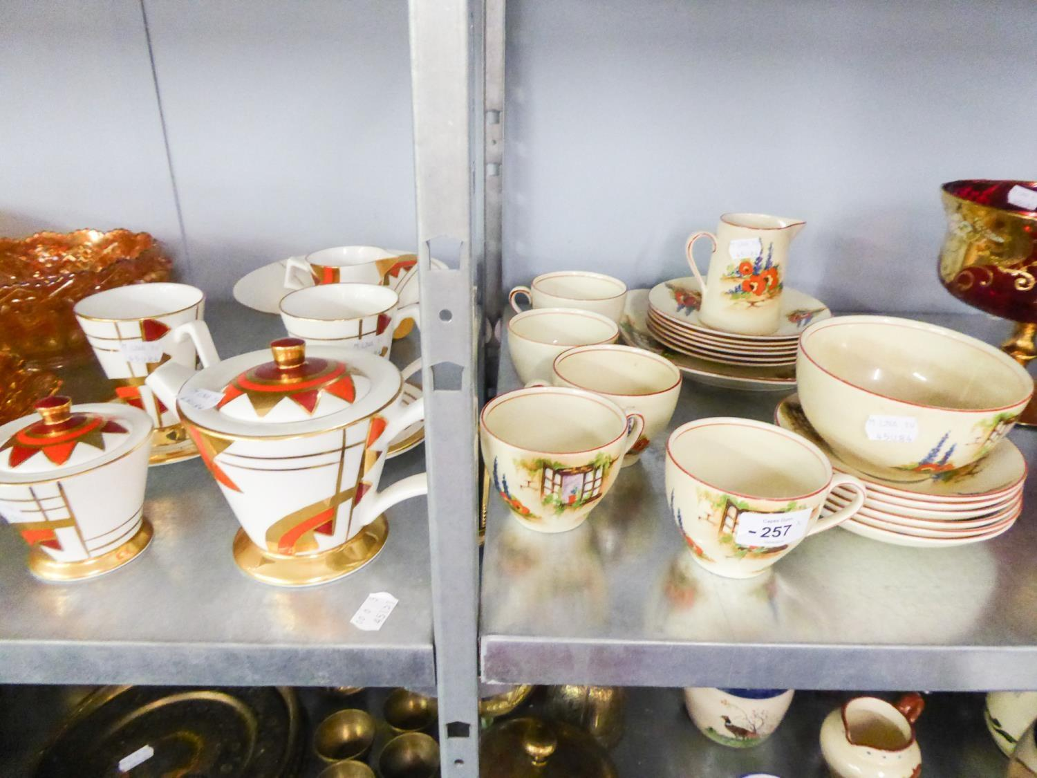 Lot 257 - BRIAN WOOD 'GOLDEN JAZZ' TEA SERVICE FOR TWO, ANOTHER TEA SERVICE FOR FIVE PERSONS WITH WINDOW AND