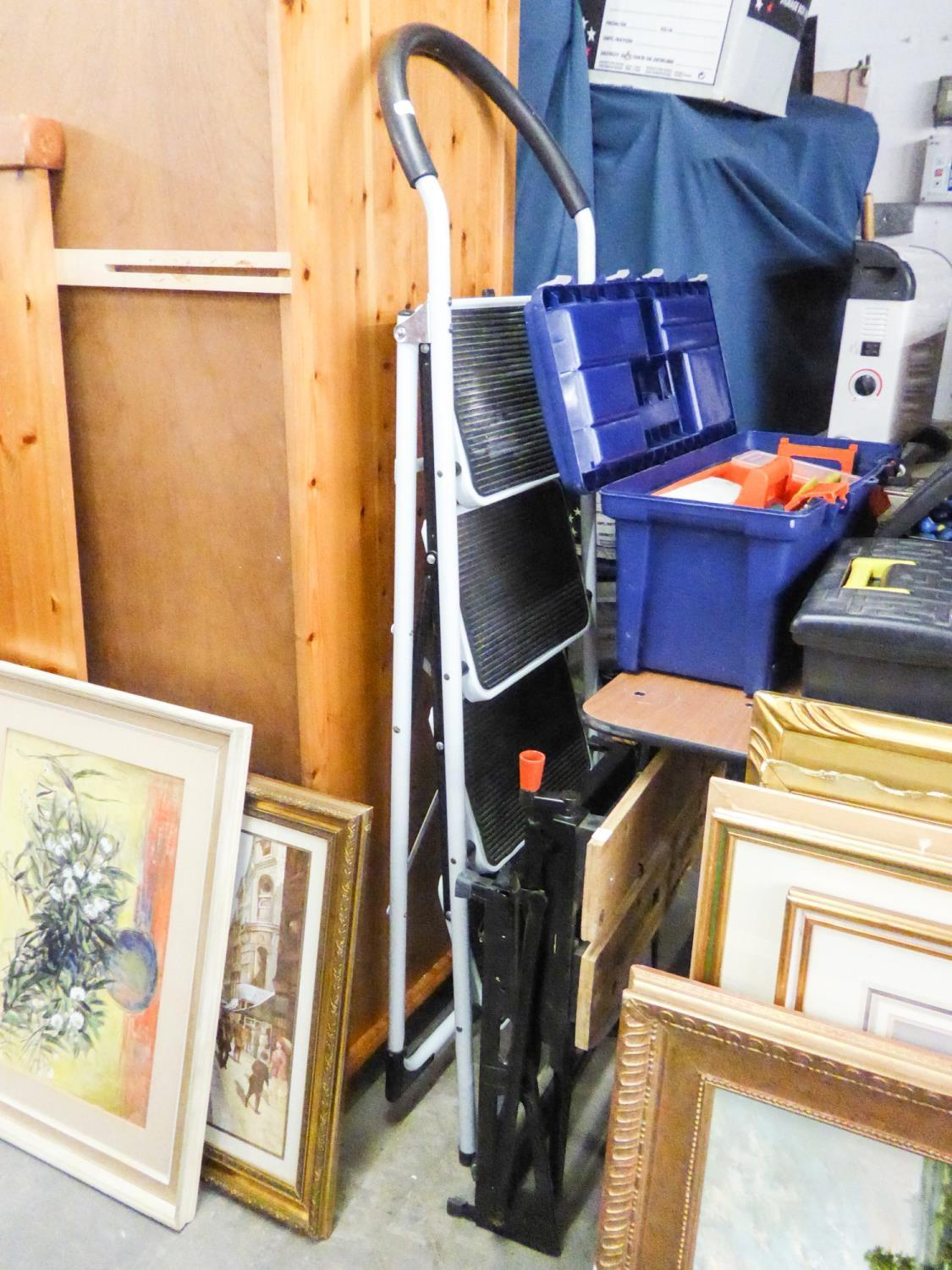 Lot 156 - LARGE ALLUMINIUM STEP LADDER, SMALLER STEP LADDER, A BLACK AND DECKER WORK STATION AND A LAWN TINE