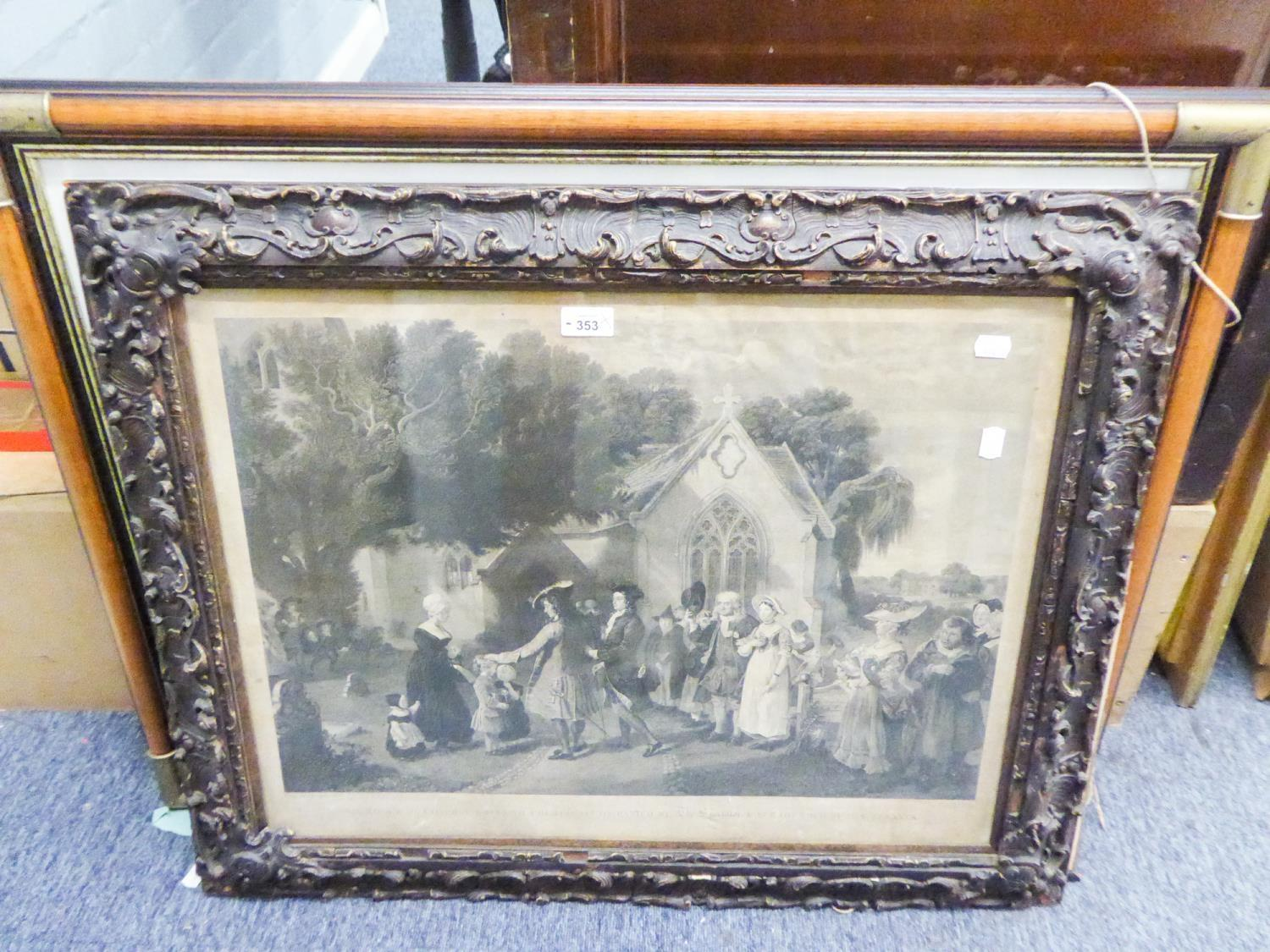 Lot 353 - AFTER LESLIE, OLD BLACK AND WHITE ENGRAVING, FIGURES OUTSIDE A CHURCH, IN LATER FRAME AND A SMALL