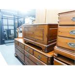 DUCAL PINE BEDDING BOX AND A DOUBLE HEADBOARD
