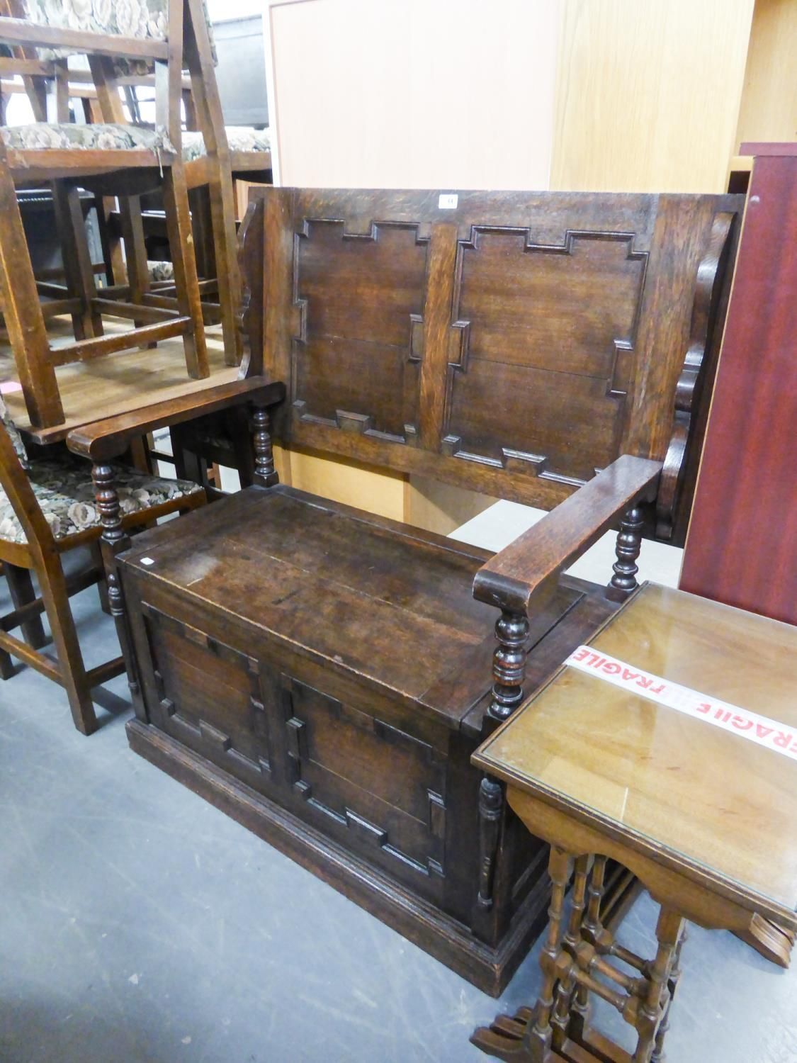 Lot 64 - SMALL CARVED OAK MONKS BENCH
