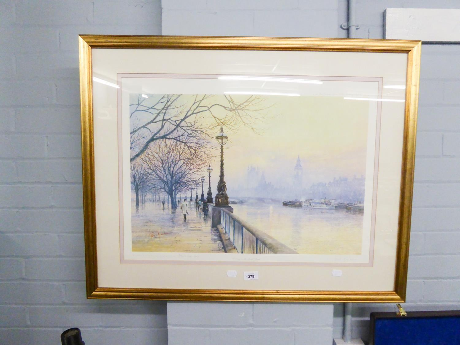 Lot 379 - JOHN F. DONALDSON ARTIST PROOF, SIGNED COLOUR PRINT REPRODUCTION EVENING ON THE SOUTH BANK SIGNED IN