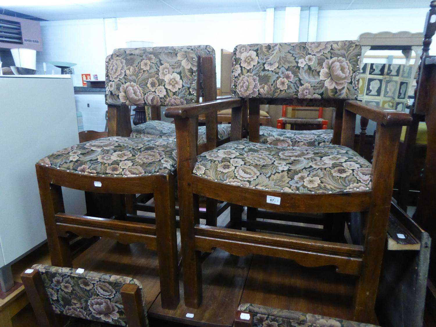 Lot 67 - A SET OF EIGHT OAK DINING CHAIRS (6 +2)
