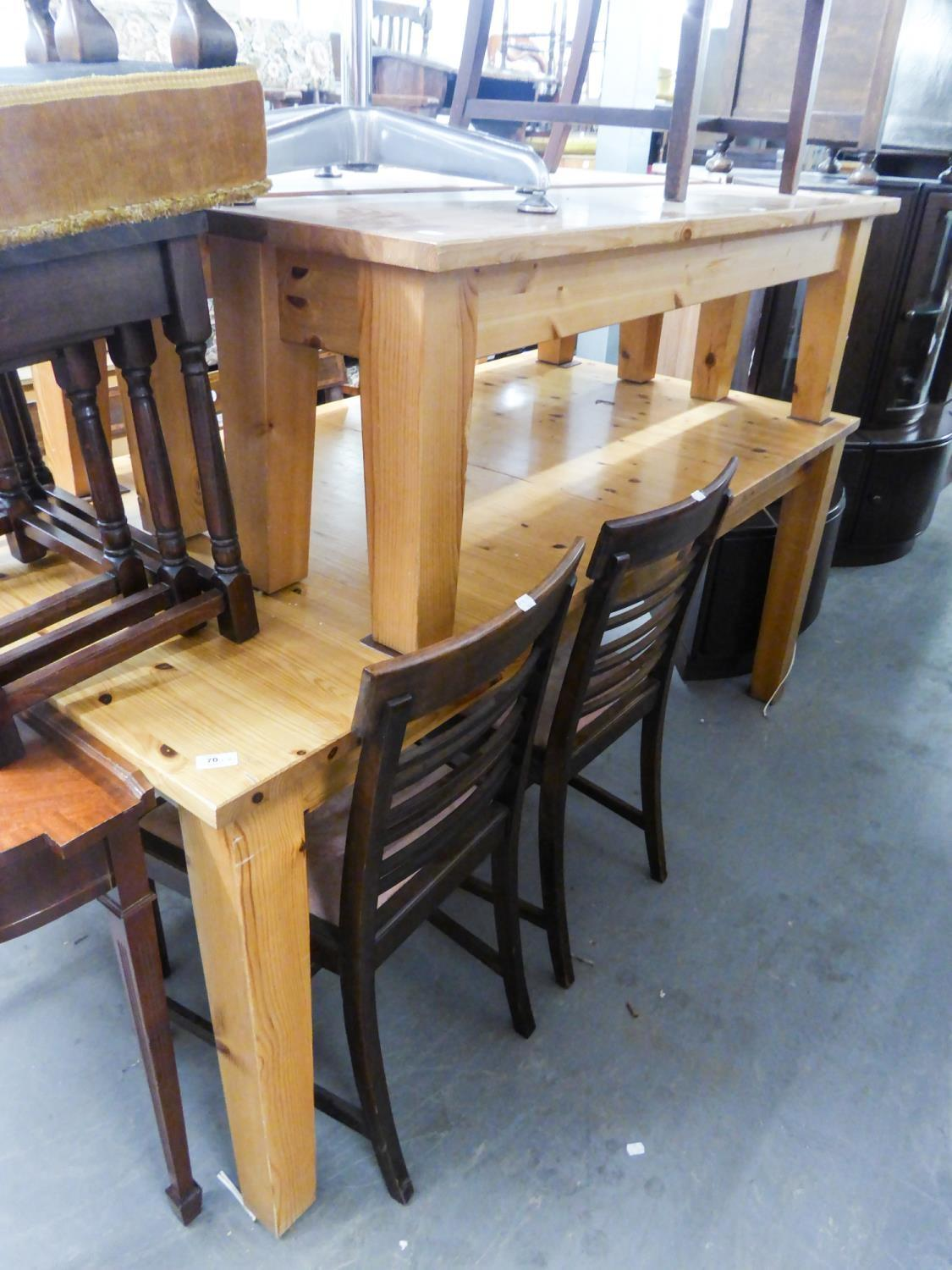 Lot 70 - A LARGE PINE EXTENDING DINING TABLE, WITH TWO BENCH SEATS AND A SIMILAR DINING CHAIR (4)