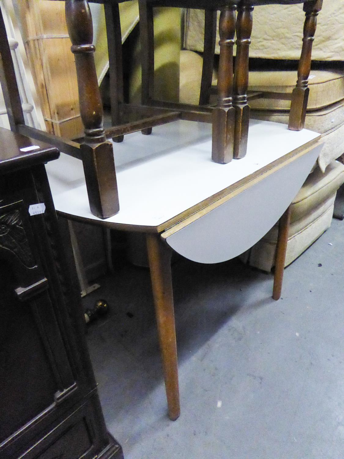 Lot 34 - DROP LEAF KITCHEN DINING TABLE HAVING FORMICA TOP