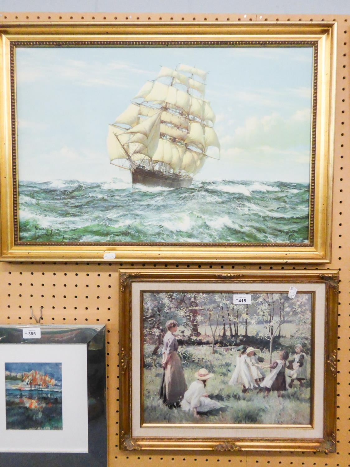 Lot 415 - COLOUR PRINT, CLIPPER SHIP AND 'MAY TIME' BY HAROLD HARVEY (1874-1941) (2)