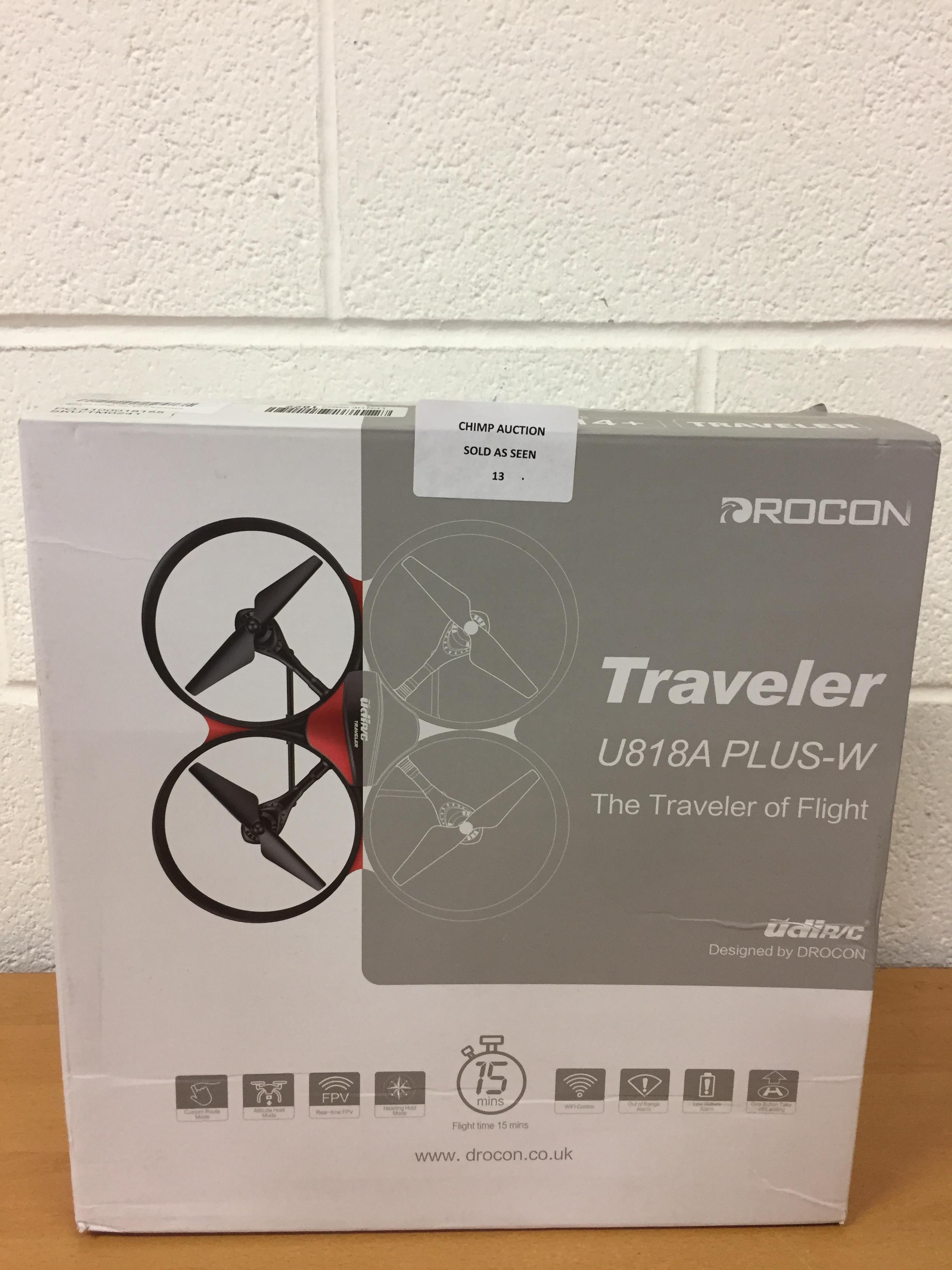 Lot 13 - Drocon Traveler U818A Plus Wifi remote controlled Drone