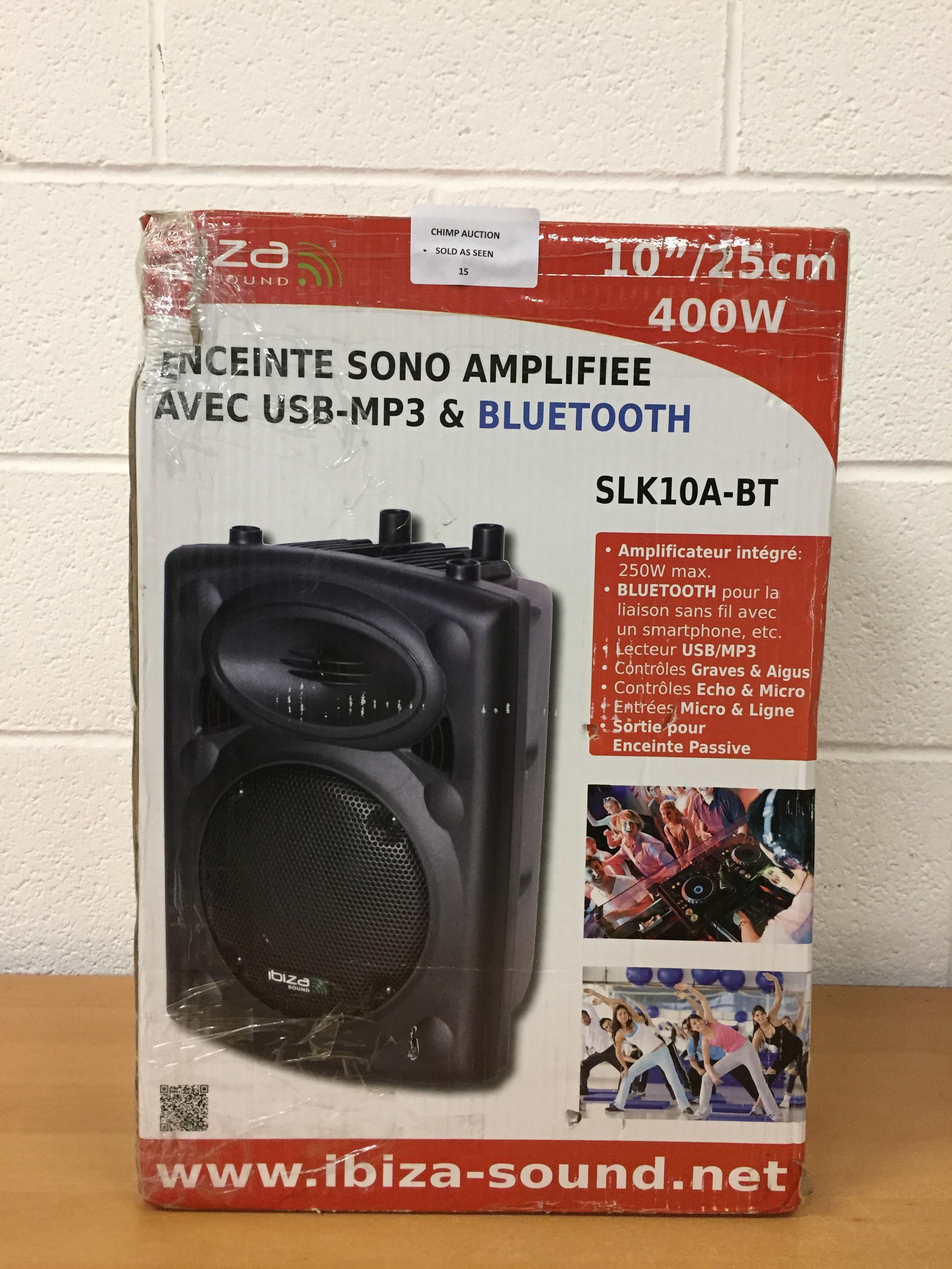 Lot 15 - Ibiza sound SLK10A-BT Amplified Bluetooth speaker RRP £179.99