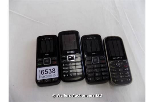 BAG OF 3 ALCATEL MOBILE PHONES MODELS 1010X, 303 AND 1 TECNO