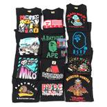 A Bathing Ape (BAPE) a quantity of black T-shirts, with varying designs, in medium or large sizes (