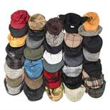 A collection of thirty six assorted flat caps, comprising leather and tweed, to include brands