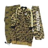 A Bathing Ape (BAPE) a quantity of green camouflage clothing, to include; hoodies, tracksuit