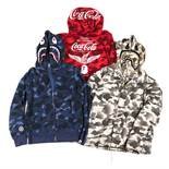 A Bathing Ape (BAPE) a collection of six variously patterned hoodies, in assorted colours, mostly