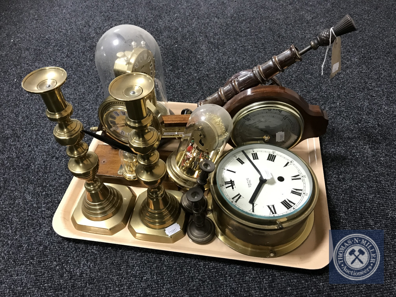 Lot 7 - A tray of brass candlesticks, Smiths clock, anniversary clock,
