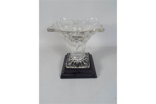 An Edwardian Glass Vase On Black Glass Square Plinth