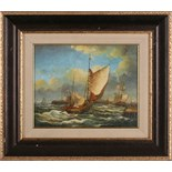 A 19th Century seascape of sail boats approaching harbour, oil on board, later framed, 19 x 24cm.