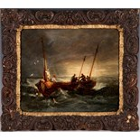 A late 19th Century, British, 'Raising The Oars', oil on panel, marine study of a manned row boat in