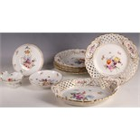 Five late 19th Century Meissen hard porcelain cabinet plates, painted centrally with Deutsche