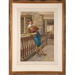 A late 19th Century Italian School, watercolour, gentleman leaning on a balustrade, unsigned,