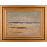 French, late 19th / early 20th Century, oil on canvas, shoreline study, with red masted sail boats