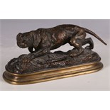 J. Mongmiey, bronze patinated study of a hunting dog, 19cm W.