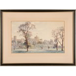 Kenneth Hobson (20th Century, English), 'Windsor Castle from the Gardens', watercolour study, signed