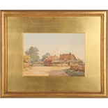 Alice M. Hobson (19th Century, English), 'Sandringham', watercolour, study of thatched buildings