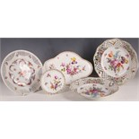 A various selection of late 19th or early 20th Century Dresden porcelain cabinet plates, all painted