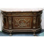 A French, Louis XV style, marble top credenza, brass dentil trim above, floral swags, curved doors