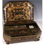 A 19th Century Canton papier-mâché and chinoiserie decoration games box, of rectangular canted