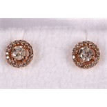 A pair of 18ct rose gold and diamond cluster earrings (dia. 0.30ct).