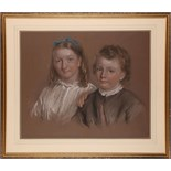 Sir John Gilbert, a pastel on toned paper portrait, brother and sister, signed and dated 1868, 49