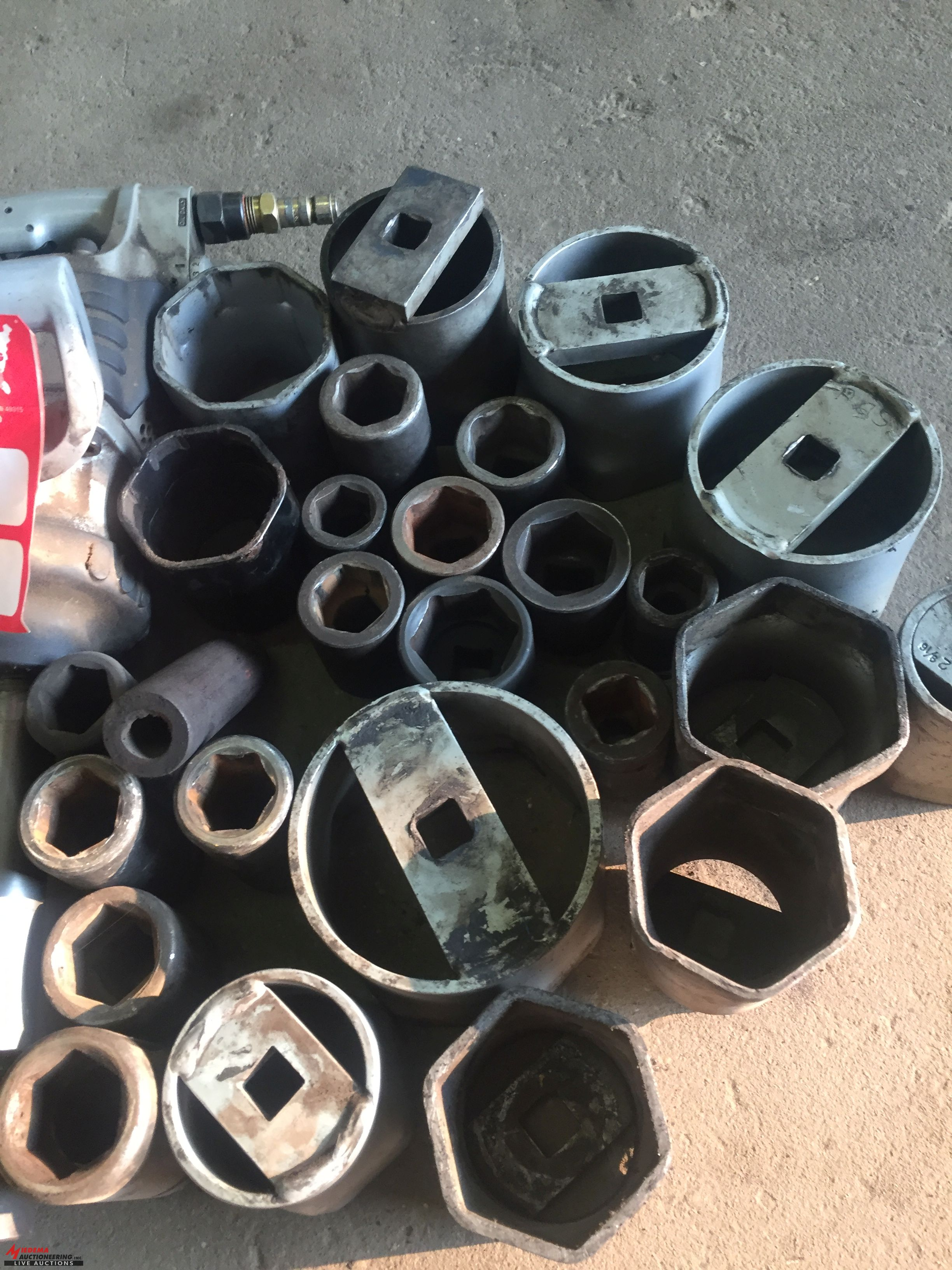 Lot 1 - INGERSOLL RAND 1'' PNEUMATIC IMPACT WITH ASSORTED IMPACT SOCKETS AND AXLE TYPE SOCKETS, AND