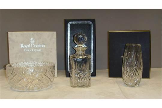 A Royal Doulton Crystal Bowl An Arthur Price Of England Vase And