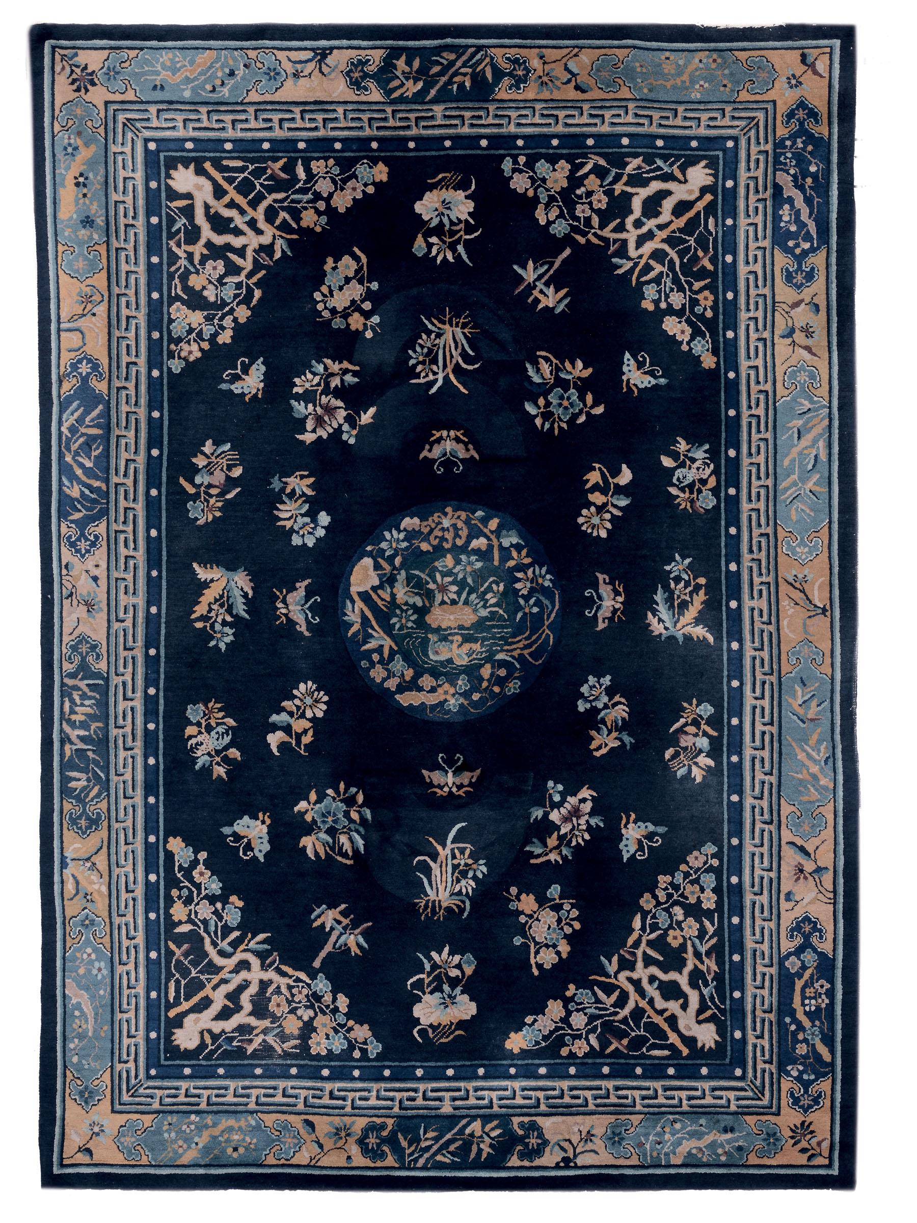 Interesting lot tappeto cinese inizio xx secolo fondo blu for Top tappeti
