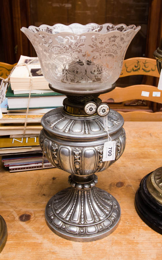 Lot 700 - SILVERED OIL LAMP & SHADE