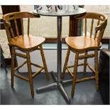 2 PINE HIGH STOOLS + TABLE