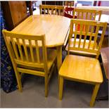 4 RAIL BACK CHAIRS + DROP LEAF TABLE