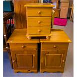 PAIR OF PINE LOCKERS + MINI CHEST