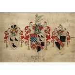 Lot 35 - Armorial Roll for the Palmer family, - issued by Robert Cooke, Clarenceaulx King of Arms issued by