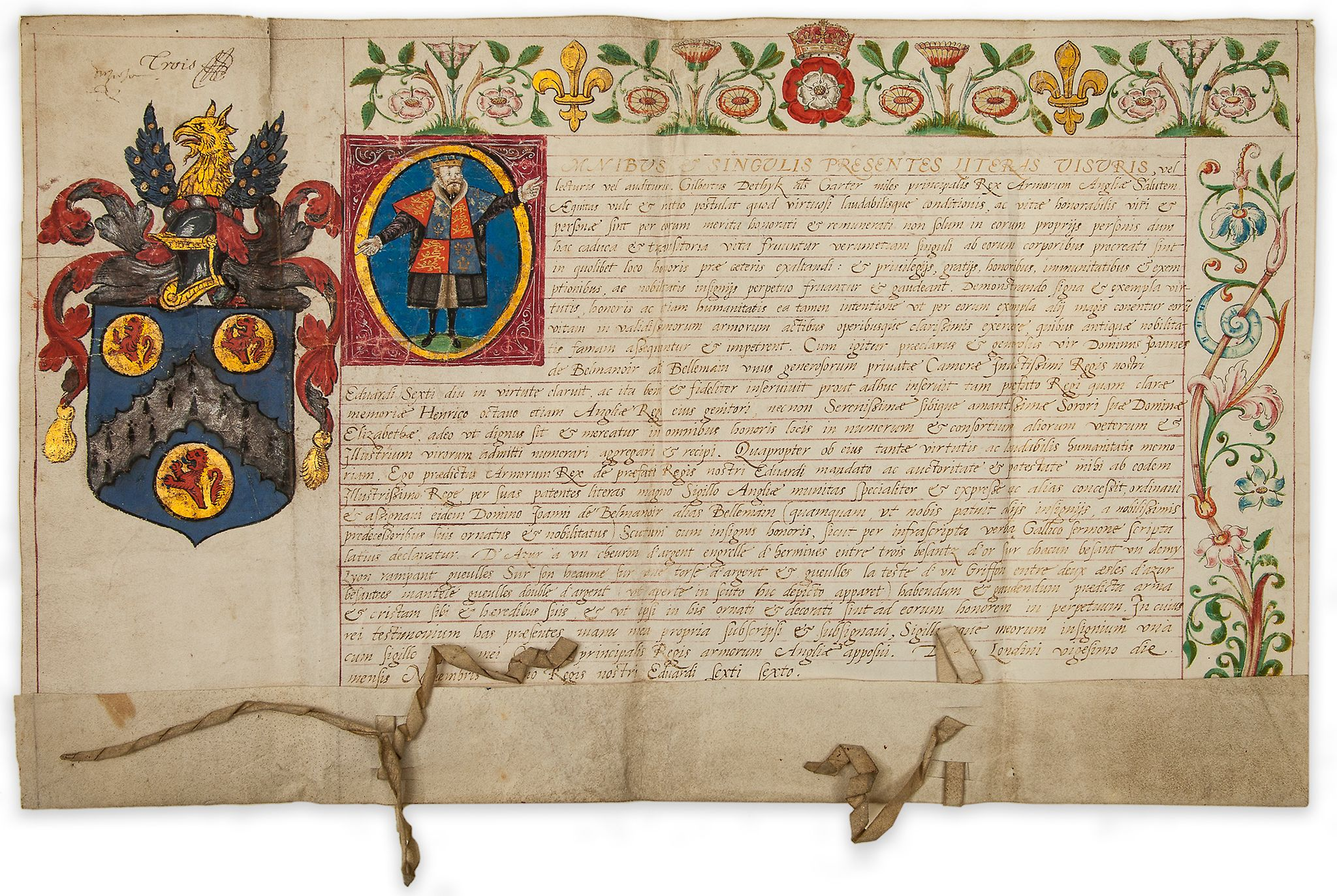 Lot 34 - Grant of Arms for Jean Belmain, - French tutor to King Edward VI and Queen Elizabeth I  French tutor
