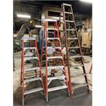 Lot Comprising 10' Louisville, 8' Werner, 6' Werner Fiberglass Step Ladders