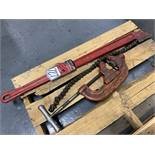 """Lot Comprising REED No. WA48 6"""" Chain Vise and RIDGE TOOL No. 44S 4-Wheel Pipe Cutter"""