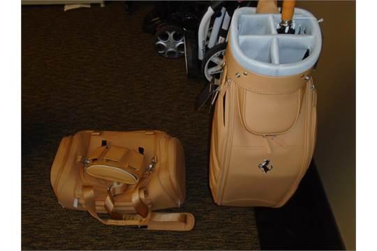 Ferrari Beige Leather Golf Bag