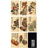 WU CHANGSHUO zugeschrieben ACHT ALBUMBLÄTTER MIT BLÜTEN UND FRÜCHTENTusche und Farben auf Papier.