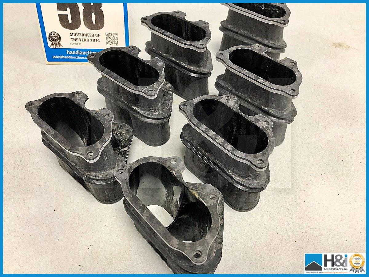 Lot 58 - 7 x Cosworth XG Indycar trumpet assy twin leg nozzle. Code: XG8509. Lot 281