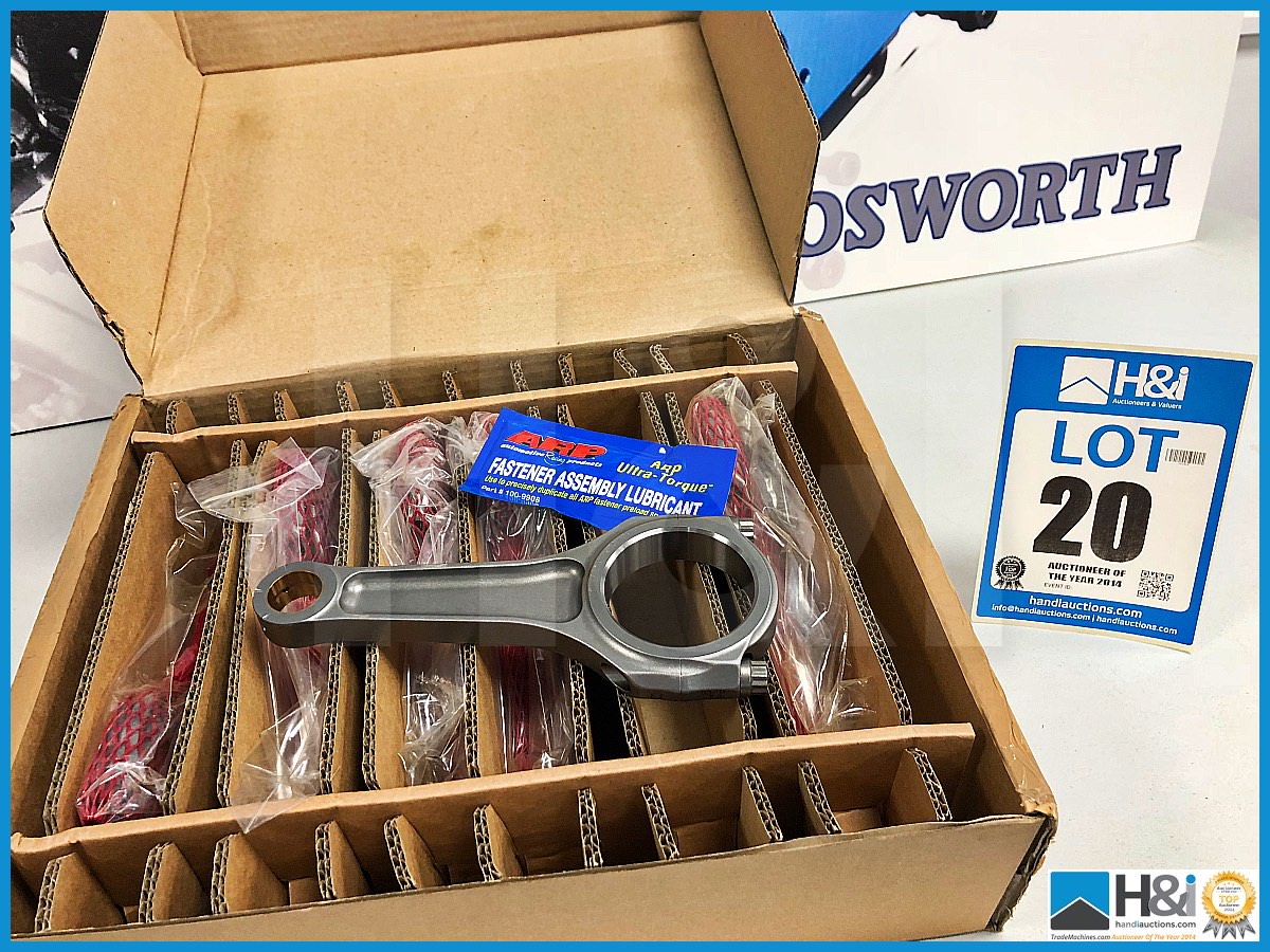 Lot 20 - 1 x Box of 6 Cosworth Lotus GL con rod assy - piston guided GT2. Code: 20024621. Lot 200